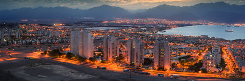 Birds eye view on Eilat and the Red Sea Royalty Free Stock Photo