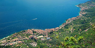 Birds eye view garda lake west coastline. Gargnano and bogliaco, italy, view from the mountain trail Stock Image