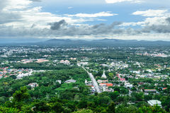 BIRDS EYE VIEW OF HAY YAI MUNICIPAL. The most respected Buddha image in Hat Yai is Phra Buddha Mongkol Maharaj. This Standing Buddha, on a hilltop in the Stock Photos