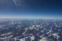 Birds eye view of Himalayan Mountains Royalty Free Stock Photo