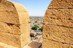 Birds eye view of Jaisalmer city through parapet ofGolden Fort o Royalty Free Stock Images