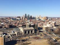 Birds eye view of Kansas City skyline Stock Photos
