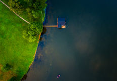 Birds eye view of a lake Stock Image