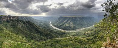 Birds eye view from the Leopards Rock overlooking Oribi Gorge stock photo