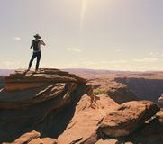 Birds Eye-view of a Man Standing on Grand Canyon Royalty Free Stock Image