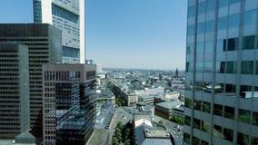 Birds eye view of modern cityscape skyline stock footage