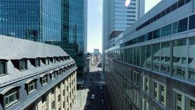 Birds eye view of modern cityscape skyline stock video footage