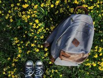 Birds eye view of my feet and canvas backback on some grassy flower field during the summer when I was feeling sad royalty free stock photography