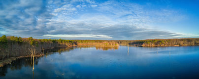 Birds Eye view over a lake in New Jersey. Panorama of a lake in New Jersey Stock Photo