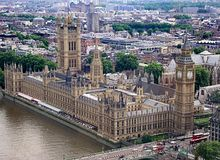 Birds eye view overlooking part of london with the houses of parliament in the forground stock photo