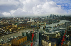 Birds eye view overlooking River Thames with Tower Bridge royalty free stock photos