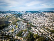 Aerial photo of Daly City in California. Birds eye view photo of Daly City in California Royalty Free Stock Image