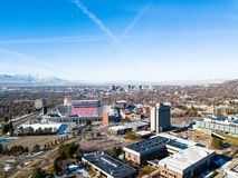 Aerial photo of Salt Lake City. Birds eye view photo of Rice-Eccles Stadium in the University of Utah Stock Photo