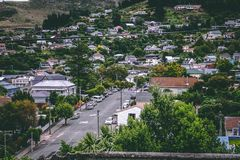 Birds Eye View Photography of Cars on Street Between Houses Royalty Free Stock Photography