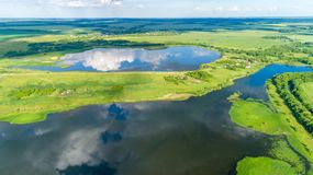 A birds eye view of ponds in summer, Russia Royalty Free Stock Photos