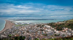 Birds Eye View Of Portland Island, Chesil Beach. Royalty Free Stock Photos