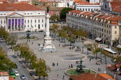 Birds-eye view of Rossio, main square of Lisbon Royalty Free Stock Photos
