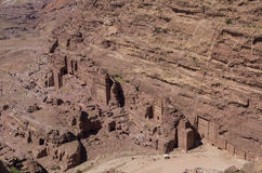 Birds eye view of Royal Tomb from High Place of Sacrifice (Al-Madbah) viewpoint, Petra Stock Photos