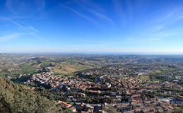 Panoramic view of San Marino and Adriatic sea, Italy Stock Photography