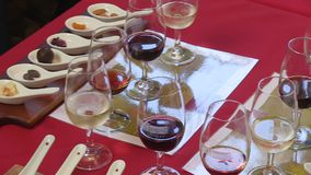 Wines laid out on table