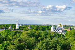 Birds eye view of St Sophia Cathedral with the belfry in the park of Novgorod Kremlin in Veliky Novgorod, Russia. Stock Photos