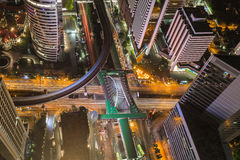 Birds eye view of Traffic in the business district Royalty Free Stock Images