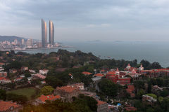 Birds-eye view twin towers and Gulangyu island in Xiamen city, southeast China Stock Image