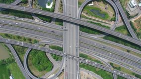 Aerial View of Highway Interchange - Transport concept footage. stock footage