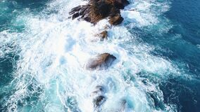 Aerial Shot of Coast Rock - Waimushan Seaside Scenic Area. stock video footage