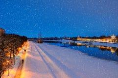 Birds eye view of Veliky Novgorod Kremlin in snowfall, Russia Stock Photography
