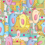 Birds Families Seamless Pattern. Illustration of birds families seamless pattern with pink love Royalty Free Stock Image