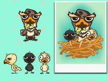 Birds family picture. Cute birds family picture with simple seamless pattern Stock Illustration