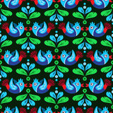 Birds and feather seamless pattern Stock Photos