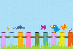 Birds on the fence background Royalty Free Stock Images