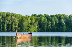 Birds on a fishing boat in a forest lake Royalty Free Stock Images