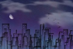 City Silhouettes. Birds flies above night city. Moon in the cloudy sky Royalty Free Stock Photo