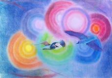 Birds in flight Stock Images