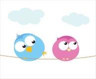 Birds flirt. Two cartoon birds sitting on a wire. Illustration Stock Photos
