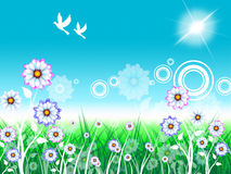 Birds Floral Indicates Florist Bloom And Flowers Stock Image