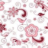 Birds Floral Seamless Pattern Red and Pink Royalty Free Stock Image