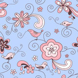 Birds Floral Seamless Pattern Red Pink and Blue Royalty Free Stock Photo