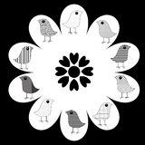 Birds on Flower. Abstract design of patterned birds on white flower with black background, vector Royalty Free Stock Photo