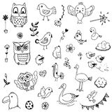 Birds and flower doodle drawing vector set. Set of birds and flower doodle free hand drawing on white background Stock Image