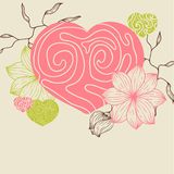Birds flower and hearts concept. Vector Royalty Free Stock Photography