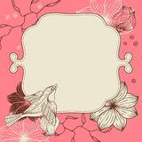 Birds flower and hearts concept. Vector Royalty Free Stock Photos
