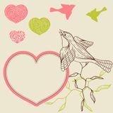 Birds flower and hearts concept. Vector Stock Photo