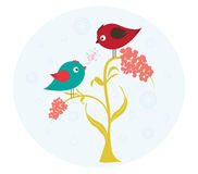 Birds on the flower in love Stock Images