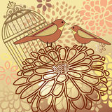 Birds with flower montage antique cage vector illustration