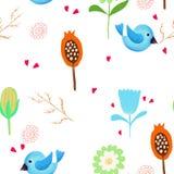 Birds Flower Pattern Stock Image