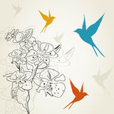 Birds a flower2. The bird flies round a flower. A vector illustration Stock Image